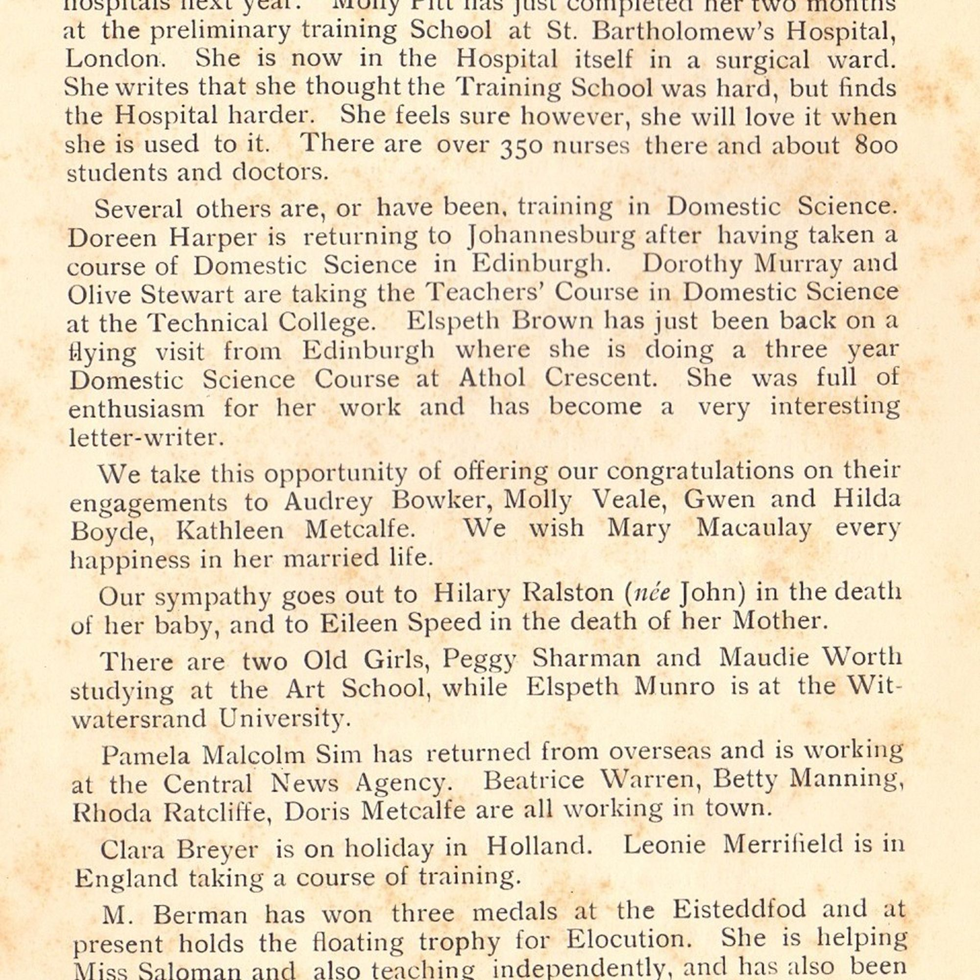 Old girls news in the 1935 school magazine