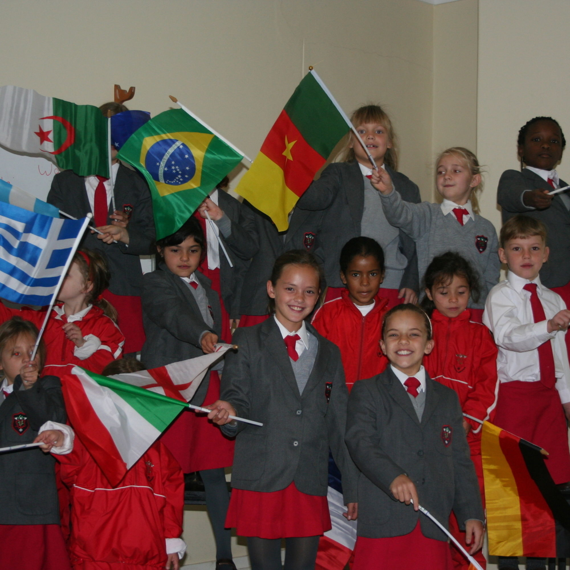 Junior school girls showing their support for the fifa world cup