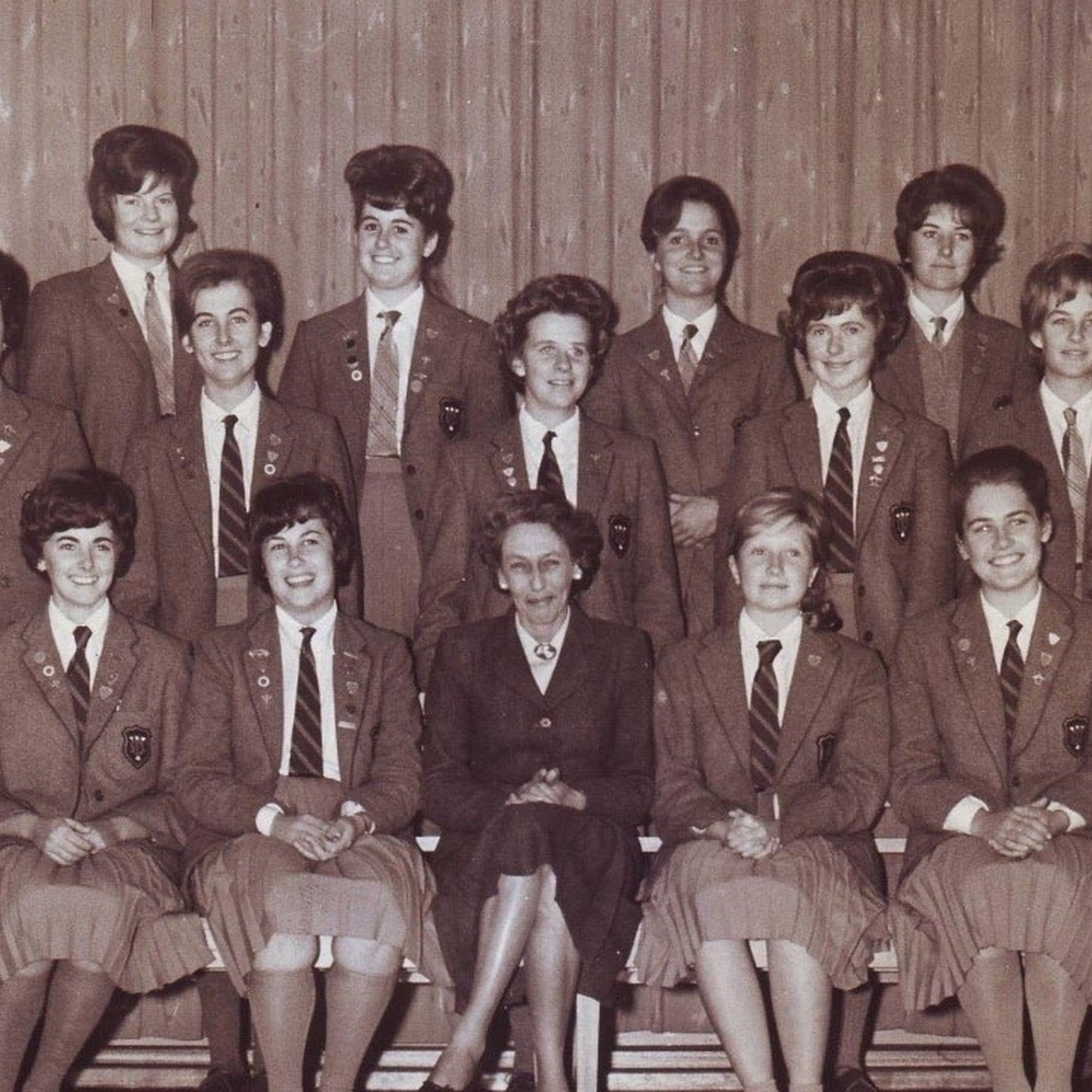 Miss wamsley and her prefects in 1963