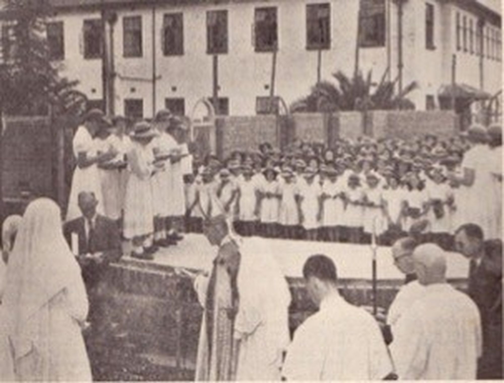 Laying the foundation stone of the chapel