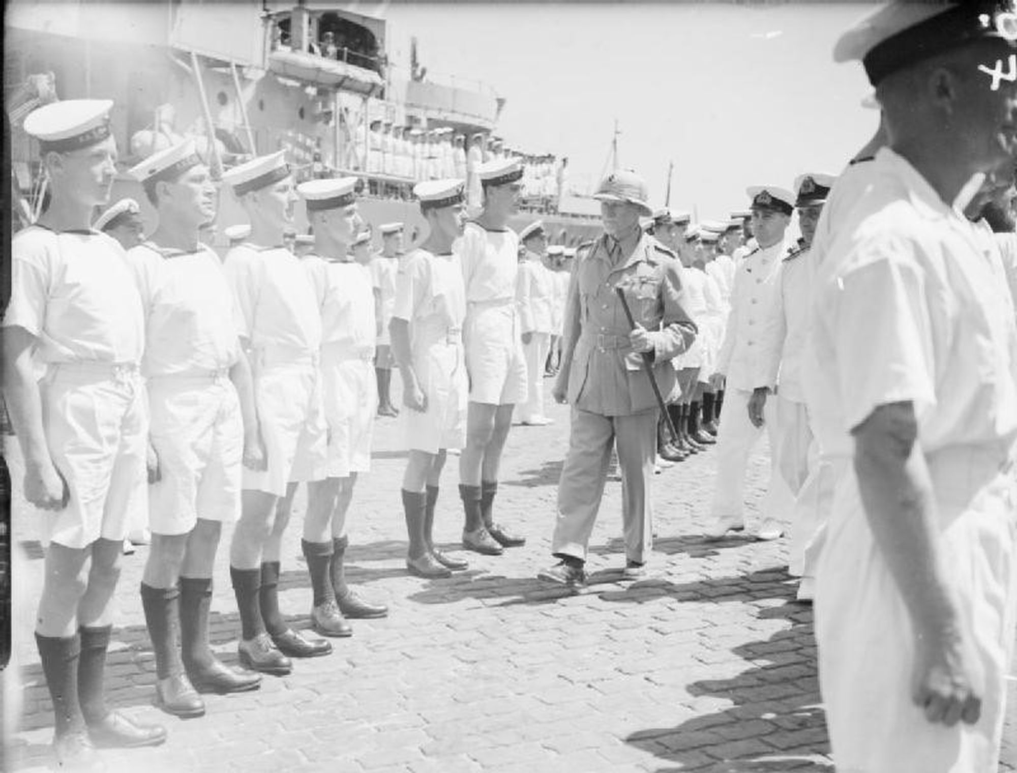 Field marshal smuts inspects south african sailors egypt 1942